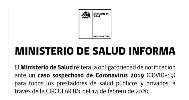 Ministerio De Salud Reitera Obligatoriedad De Notificación Ante Un Caso Sospechoso De Coronavirus COVID-19